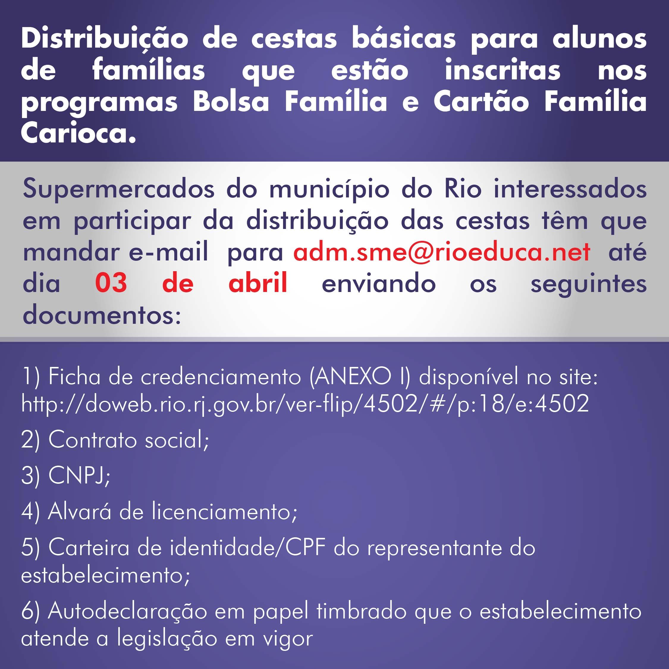 Prefeitura irá distribuir cestas básicas para famílias de alunos da rede pública